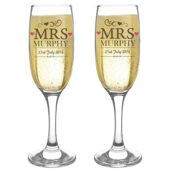 Personalised Mrs and Mrs Same Sex Glasses Engraved Flutes