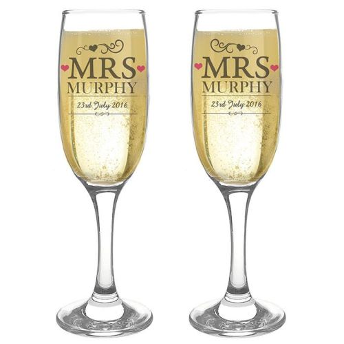 Personalised Mrs and Mrs Glasses Engraved Flutes