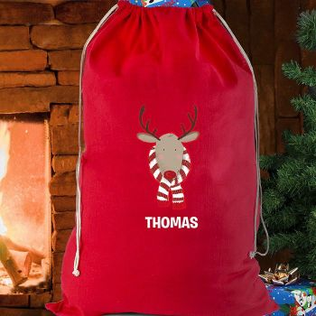 Personalised Cotton Sack - Retro Reindeer