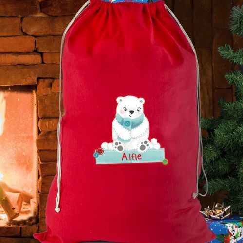 Personalised Cotton Sack - Polar Bear