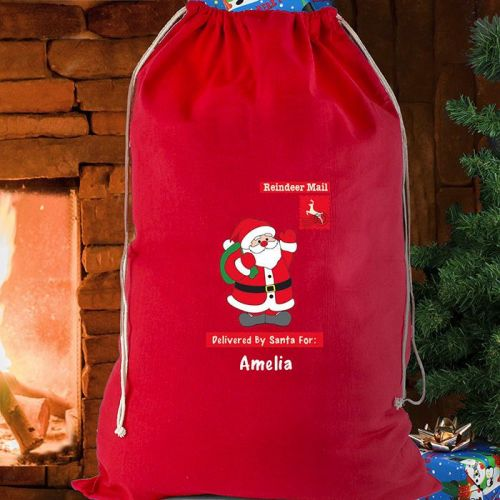 Personalised Cotton Sack in Red - Father Christmas