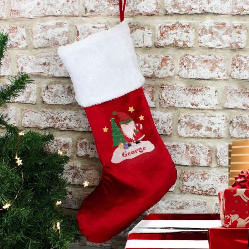 Personalised Christmas Stocking (Tartan Santa)