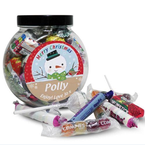 Personalised Christmas Sweet Jar - Snowman