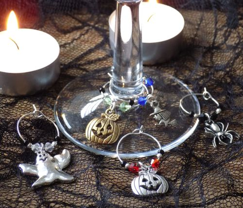 Halloween Wine Glass Charms, Set of 5
