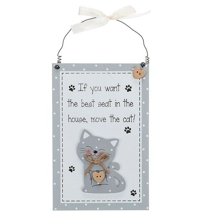 Cat Vertical Hanging Plaque - Grey