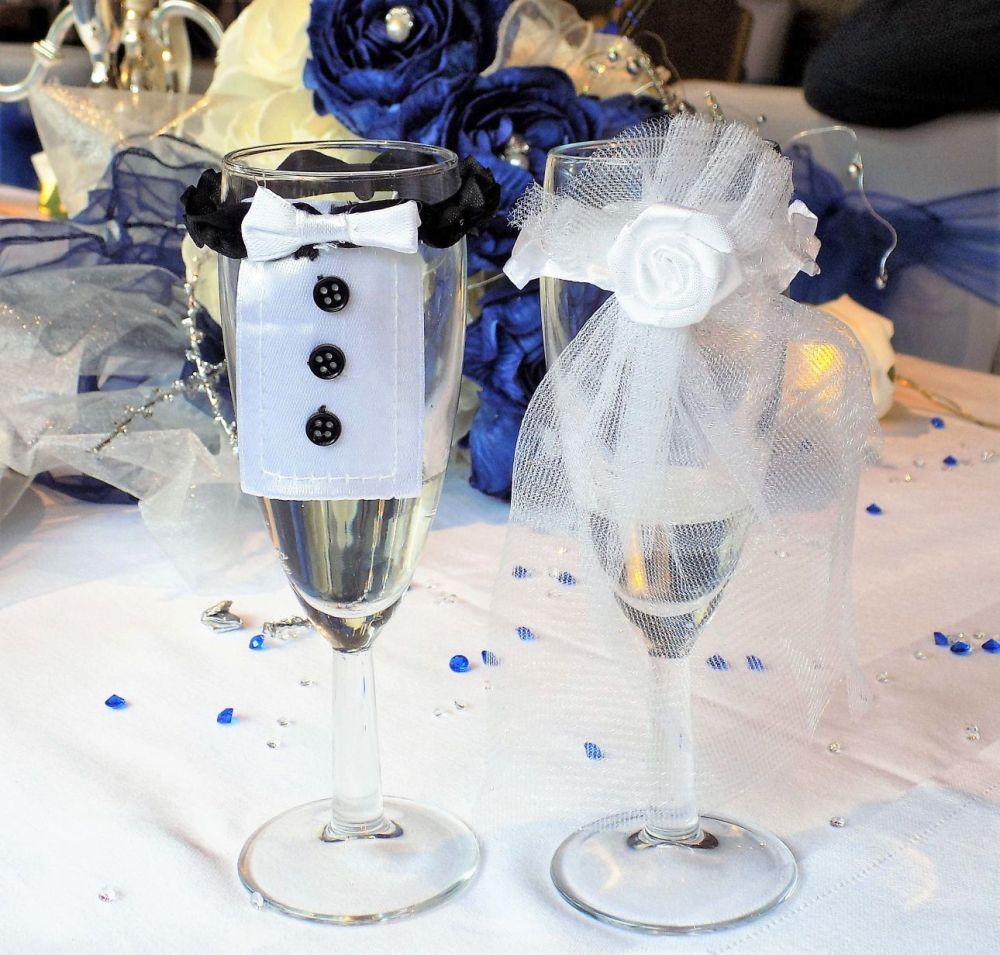 Bride and Groom Champagne Glass Flute Covers