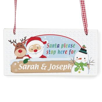 Personalised Santa and Friends Stop Here Wooden Sign