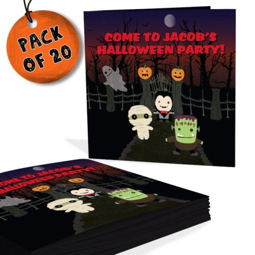 20 personalised halloween invitations