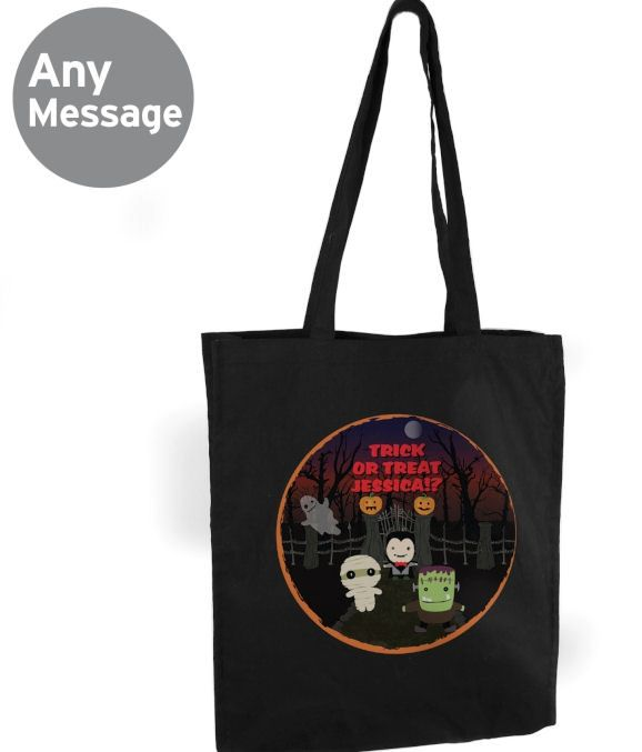 trick or treat halloween bag personalised