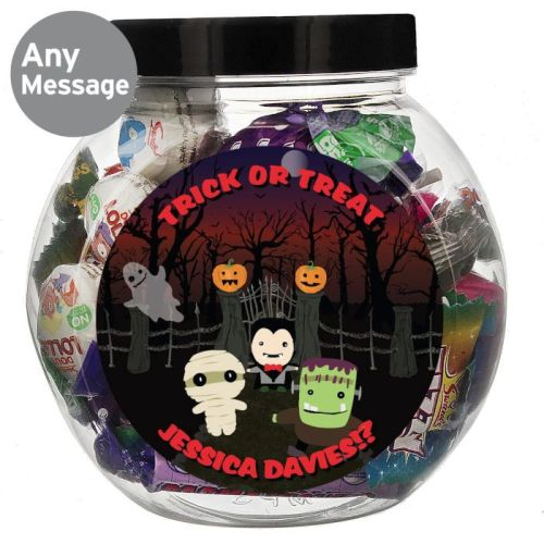 Halloween sweet jar personalised