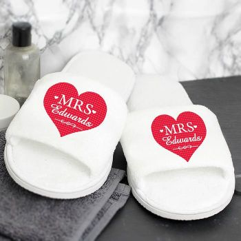 Personalised pair of Mrs spa slippers