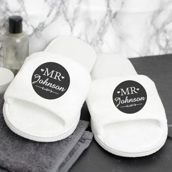 Personalised pair of Mr spa slippers