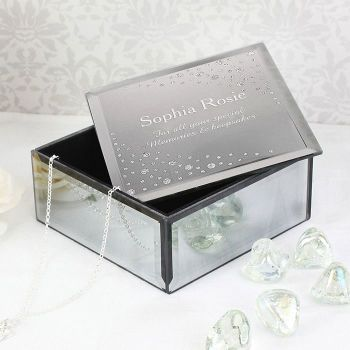 Personalised Diamante Name and Message Glass Trinket Box