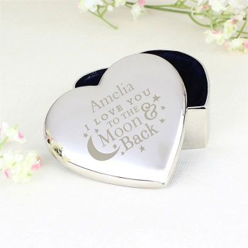Personalised Heart Trinket Box - To the Moon and Back