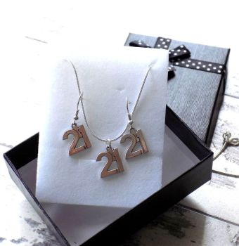 21st Birthday Silver Jewellery Gift Set