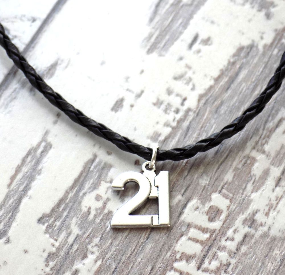 21st Birthday Black Corded Necklace