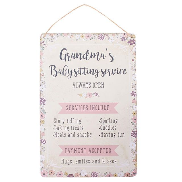 Grandmas Baby Sitting Service Metal Wall plaque