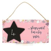Baby Sister or Brother Countdown Hanging Plaque