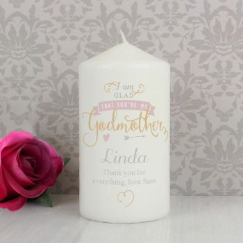 Personalised Godmother Christening Candle Keepsake Gift