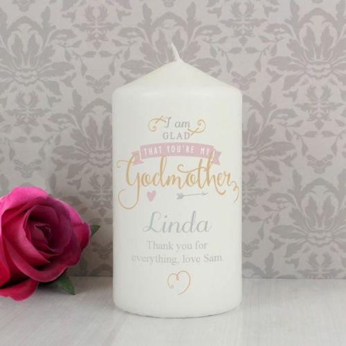 Personalised Godmother Christening Candle Keepsake Gift