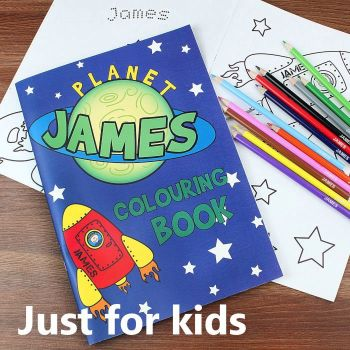Personalised Kids Space Colouring Book with Pencils