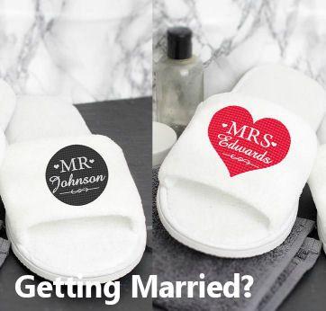 Personalised Pair of Mr or Mrs Wedding Slippers