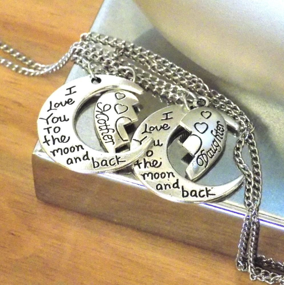 Mother and Daughter Pendant Necklaces