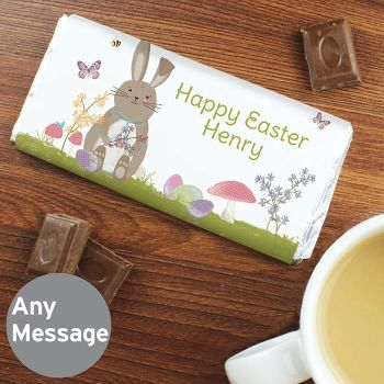 Personalised Easter Meadow Milk Chocolate Bar Bunny or Chick