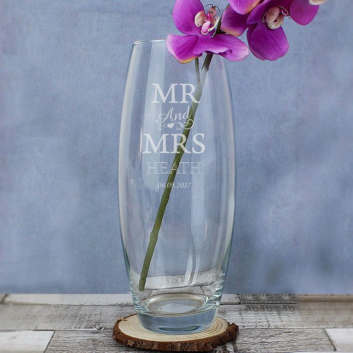 Personalised Mr and Mrs Glass Vase