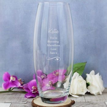 Personalised Swirls and Hearts Glass Vase