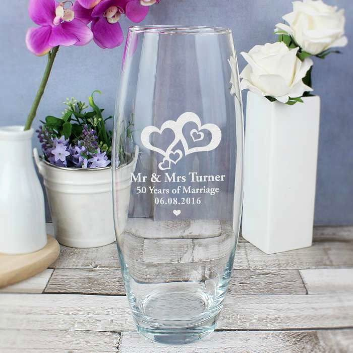 Personalised Love Hearts Glass Vase