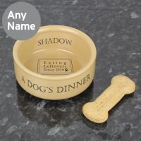 Personalised Dogs Dinner Medium Brown Dog Bowl