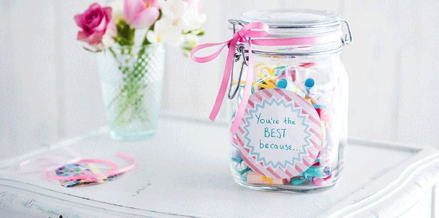 Mason jar filled with sweets