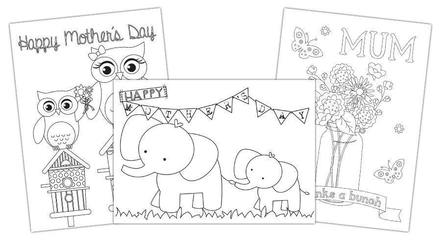Printable colouring card ideas for mothers day