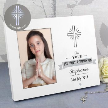 Personalised Holy Communion Light Up Photo Frame