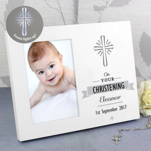 Personalised Christening Light Up Photo Frame