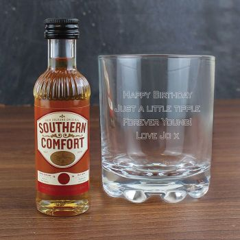 Personalised Whisky Glass & Southern Comfort Miniature Set