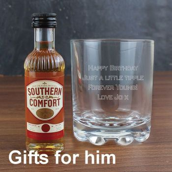 Personalised Whisky Glass & Southern Comfort