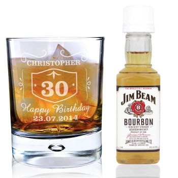 Personalised Whisky Style Glass & Bourbon Whisky Miniature Set