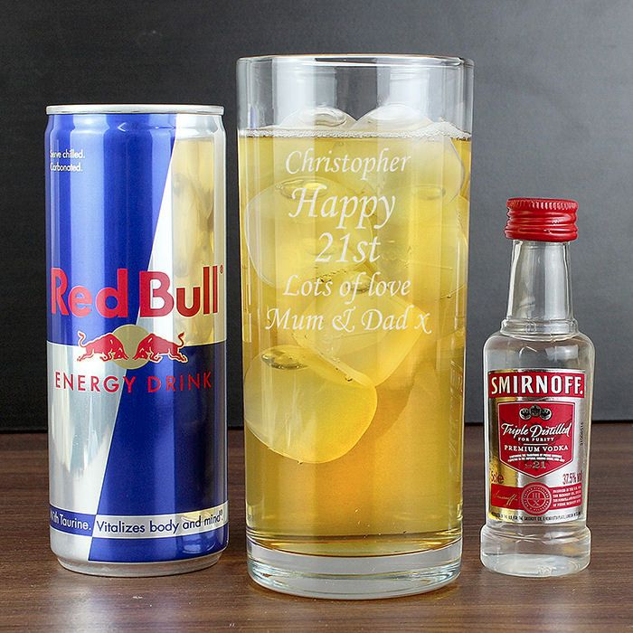 Personalised Glass, Vodka and Red Bull Gift Set