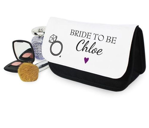 Personalised bride to be make up bag