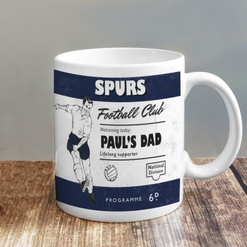 Personalised Vintage Football Navy Blue and White Supporter's Mug
