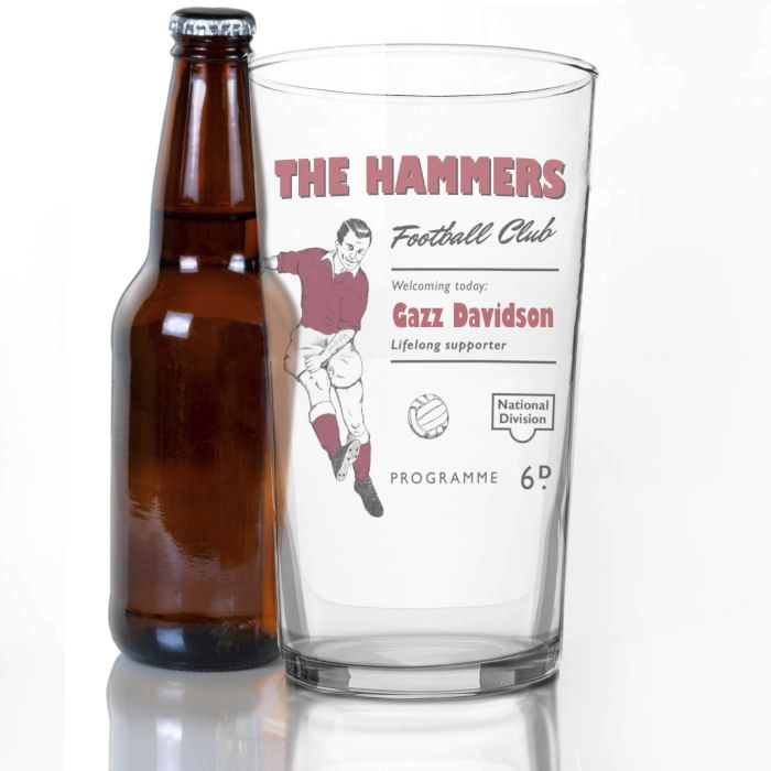 Personalised Vintage Football Claret Supporter's Pint Glass