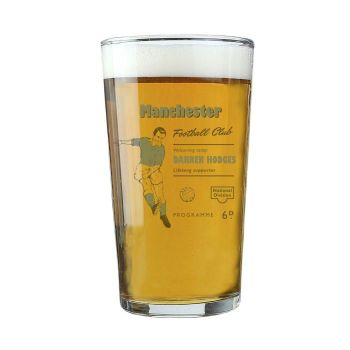 Personalised Vintage Football Sky Blue Supporter's Pint Glass