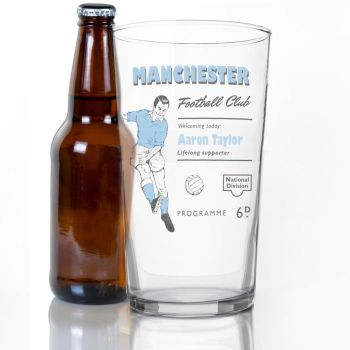 Personalised Vintage Football Sky Blue Supporters Pint Glass