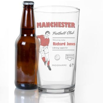Personalised Vintage Football Red Supporters Pint Glass