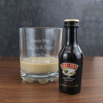 Personalised Tumbler and Baileys Miniature Set