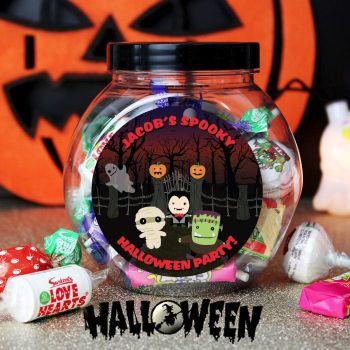Personalised halloween sweet jar at tnako