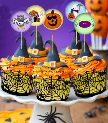 Details about  Halloween Party Cupcake Cake Fairy Cake Toppers - x 12