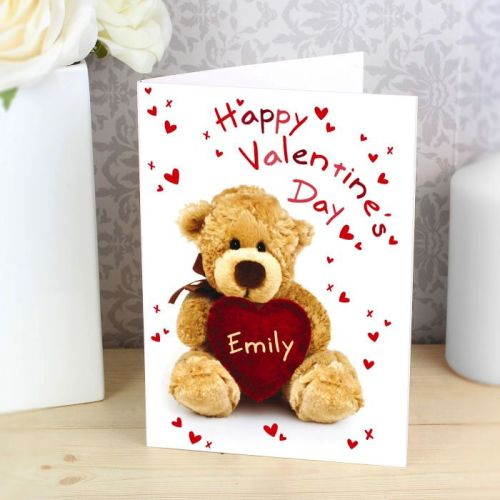Personalised Valentine's Day Teddy Heart Card